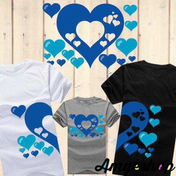 ◆快速出貨◆獨家配對情侶裝.客製化.T恤.最佳情侶裝.獨家款.純棉短T.MIT台灣製.藍色簍空愛心【Y0021】可單買.艾咪E舖 0