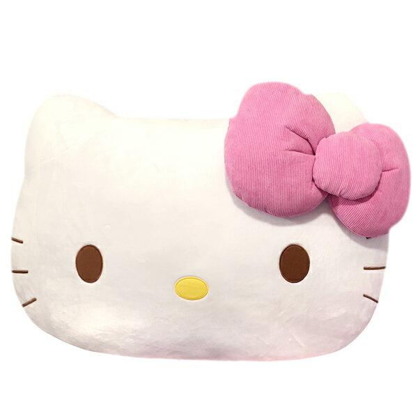 真愛日本:【真愛日本】17100400011臉型大靠墊-羅紋粉結三麗鷗kitty凱蒂貓超級大抱枕特大抱枕靠墊