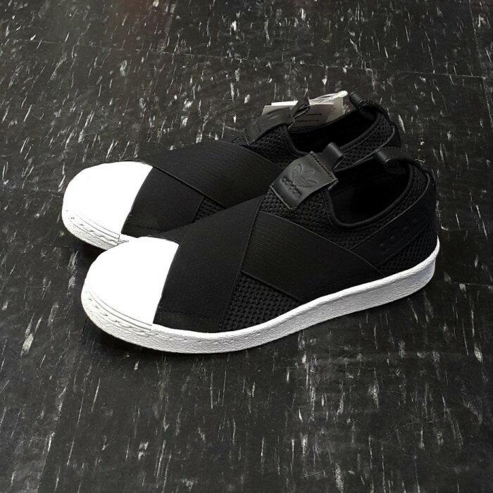 adidas SUPERSTAR SlipOn W 繃帶鞋 黑色 黑白 交叉 襪套 貝殼頭 BY2884