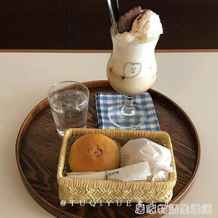 兔七月 ins风木质托盘圆形日式茶盘餐盘咖啡厅甜品盘收纳盘蛋糕盘 摩可美家