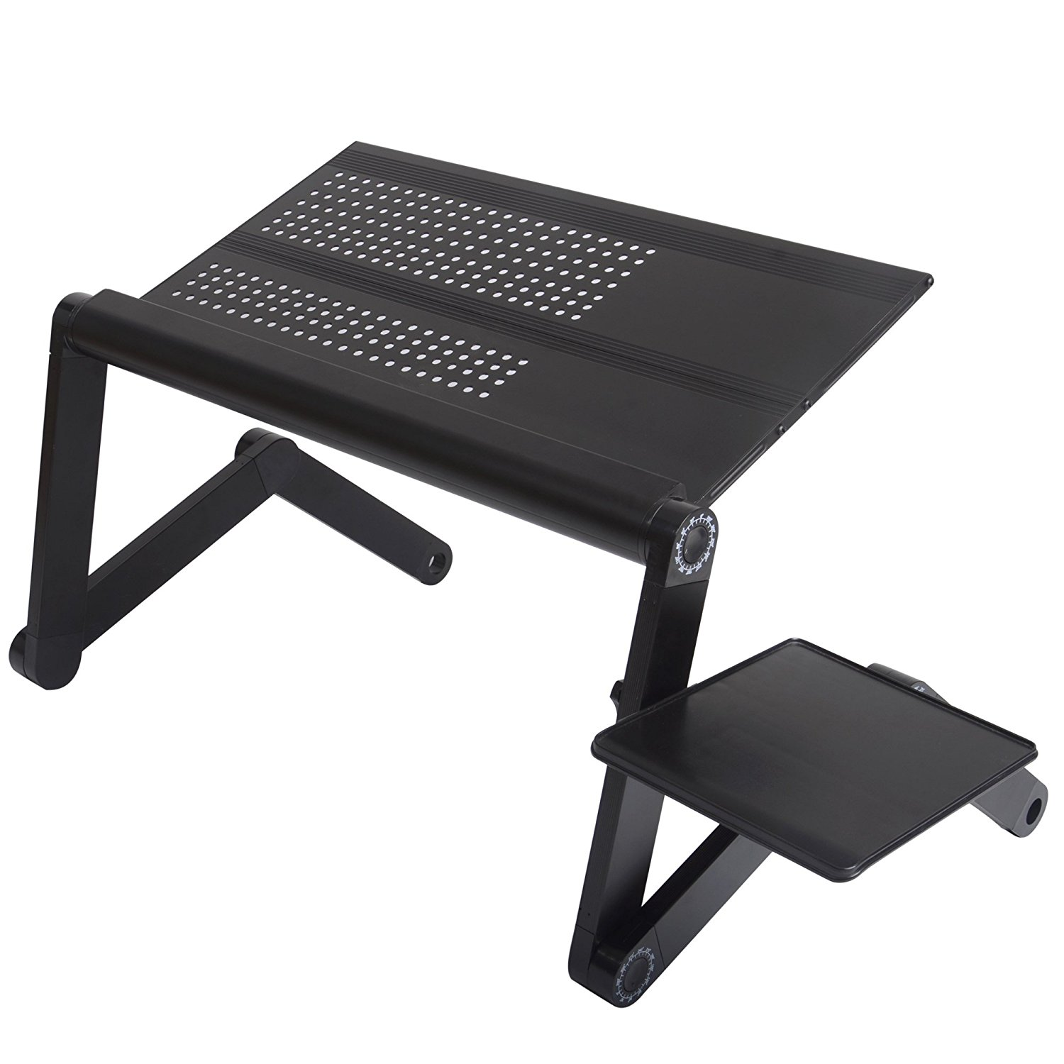 Portable Adjustable Vented Laptop Desk Aluminum Lap Tray Stand With Side Tray Ald05 0