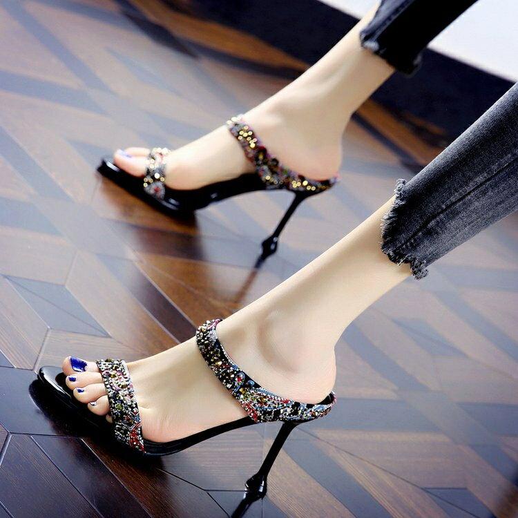 拖鞋女性感水鑚一字半拖年夏季新款時尚百搭露趾細跟高跟涼鞋 618特惠下殺!!