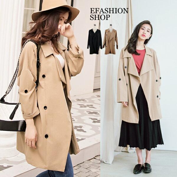 風衣外套-挺版雙排釦垂墜式風衣外套-eFashion預【J15720814】
