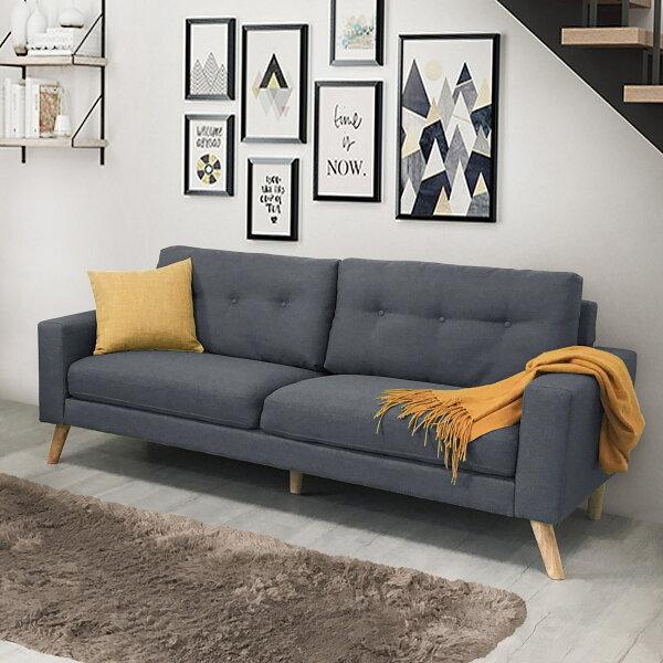 !新生活家具!《翡翠》新品灰色三人沙發三人座三人位布沙發亞麻布日式清新自然套房客廳工廠直營