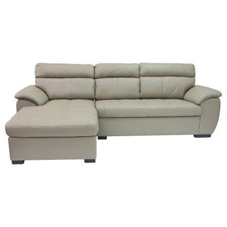 ◎(OUTLET)半皮右躺椅L型沙發 CAPUCCINO LC BE 福利品 NITORI宜得利家居 1