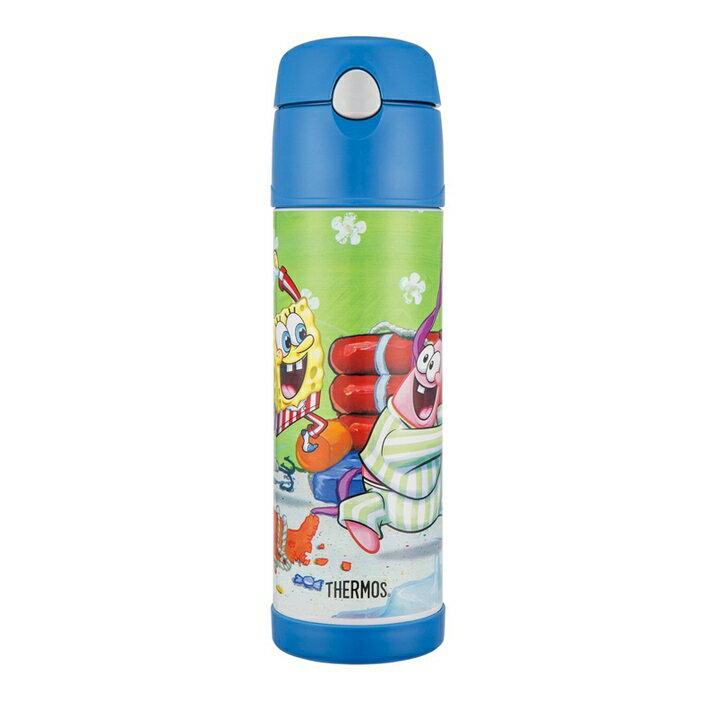 THERMOS 膳魔師 530ml 海綿寶寶 不鏽鋼真空保冷瓶 HS4010SB~BL