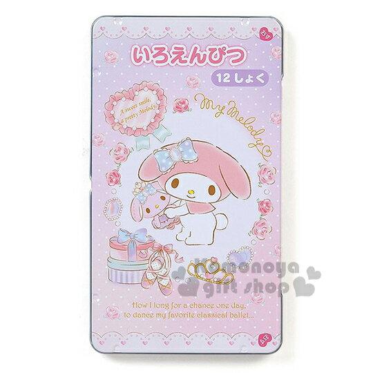 〔小禮堂〕美樂蒂 日製盒裝12色鉛筆《粉.點點.玫瑰芭蕾舞鞋》日本三菱文具