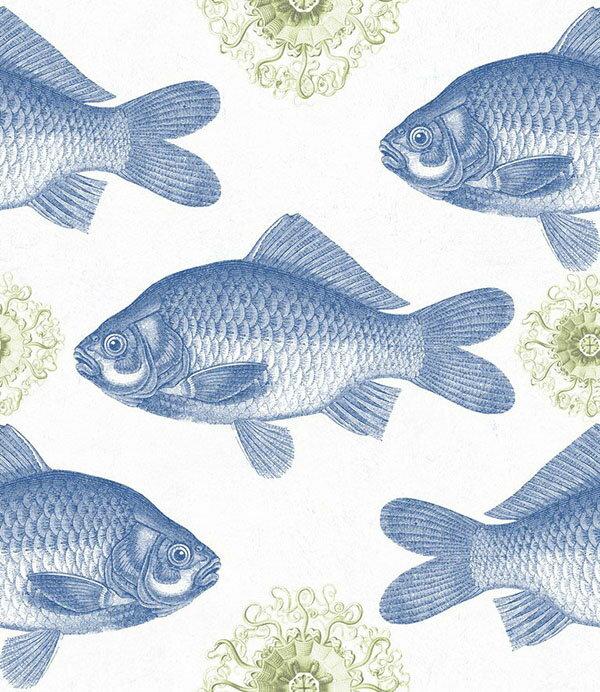 Mind the Gap / Fish Blue WP20009 壁紙「訂貨單位156cm x 3m/套(1套3張壁板)」魚 繪畫