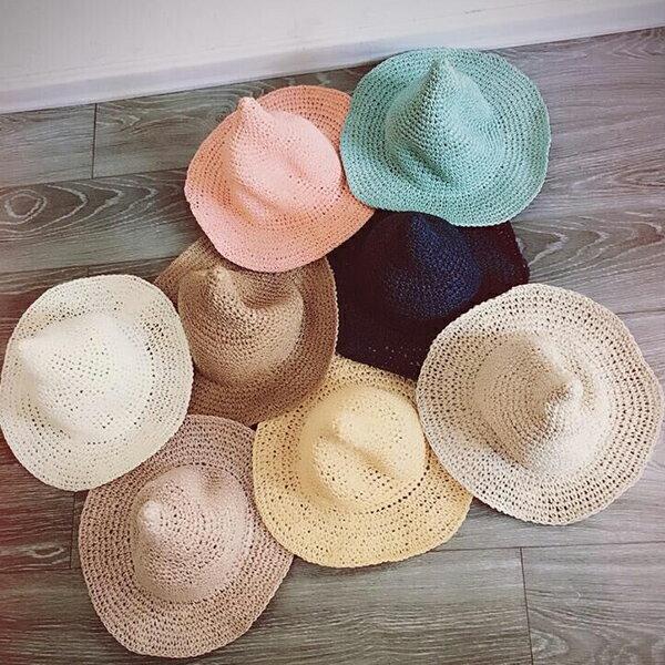 PS Mall 新款兒童帽 純手工草帽大簷遮陽帽【B007】 1