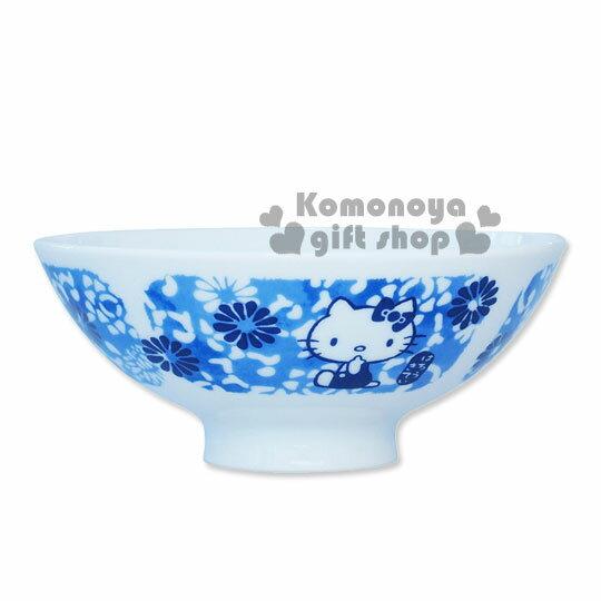 〔小禮堂〕Hello Kitty 日製陶瓷碗《藍.花唐草》精緻金正瓷器
