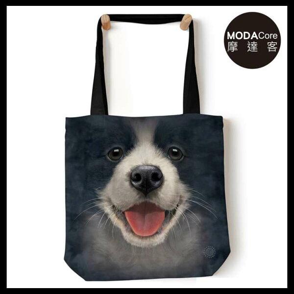 【摩達客】(預購)美國TheMountain小邊境牧羊犬微笑藝術環保托特包