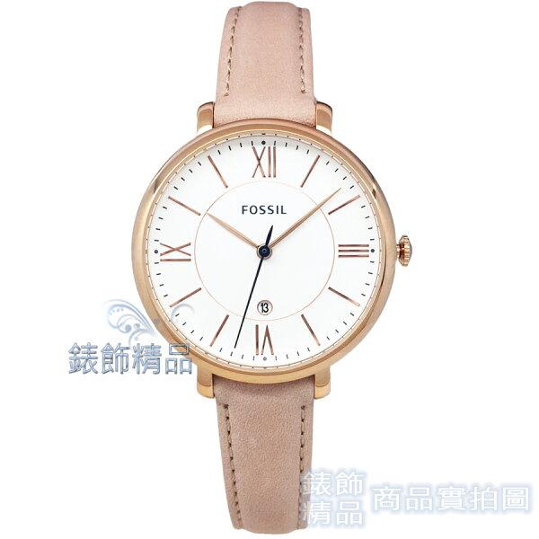 【錶飾精品】FOSSIL手錶ES3988白面玫金框膚色錶帶36mm女錶