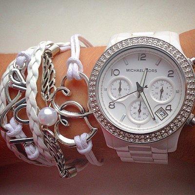 美國Outlet正品代購 MichaelKors MK 陶瓷 水鑽 三環 手錶 腕錶 MK5188 5