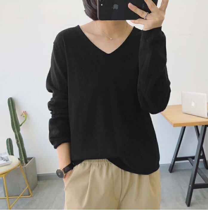 親膚柔軟.純色V領長袖針織上衣- shiny藍格子【V2994】 4