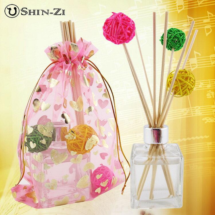 送禮禮盒 芳香水竹藤枝精油組100ml方型瓶(贈送雪紗袋+3個藤球 顏色隨機)