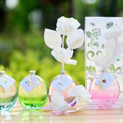 送禮禮盒 水竹藤枝玫瑰花束擴香香芬精油組 130ml玻璃瓶