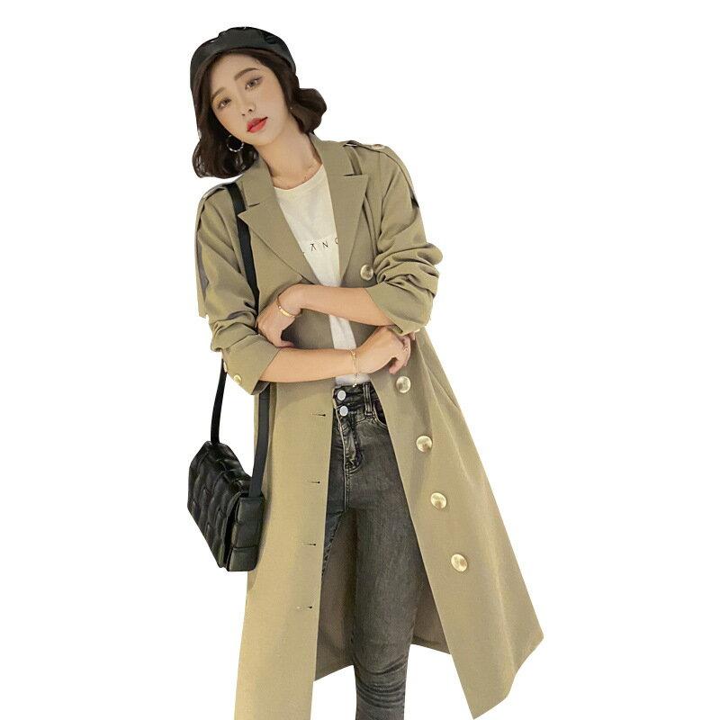 風衣大衣長版外套-單排扣肩章繫帶修身女外套2色73yt43【獨家進口】【米蘭精品】