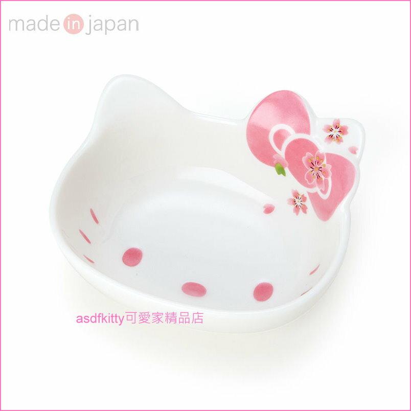 asdfkitty可愛家☆KITTY大臉櫻花陶瓷碗/中碗/飯碗/點心碗-47621-可微波-可用洗碗機-日本製