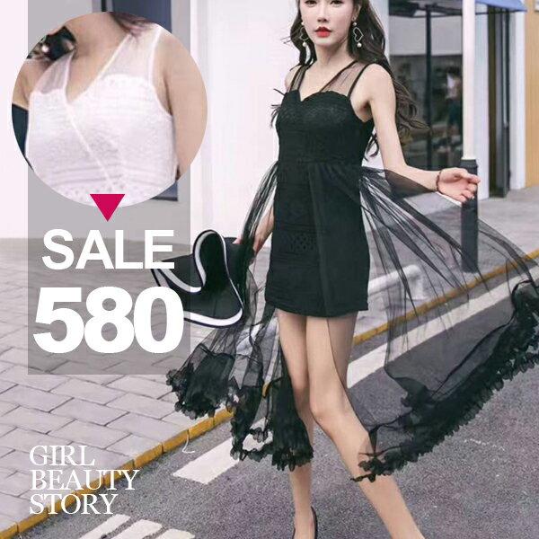SiSi Girl:SISI【D7175】名媛時尚V領網紗拼接飄逸蕾絲花邊包臀連身裙洋裝