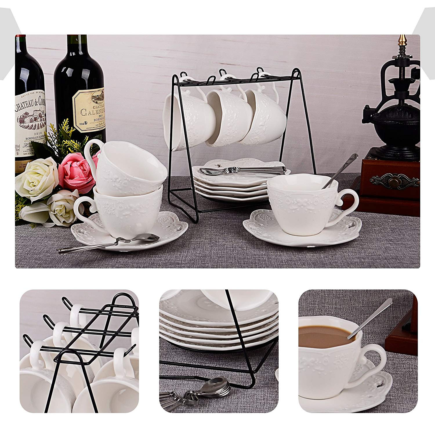 New Shining Image Porcelain Tea Cup And Saucer Coffee Cup Set With