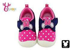 米奇90周年 米妮蝴蝶結圖樣學步鞋 魔鬼氈 迪士尼 MIT MICKEY 寶寶鞋 F3107#桃紅◆OSOME奧森鞋業