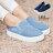 格子舖*【AS977】嚴選簡約率性牛仔刷破帆布 性感紅唇LIP圖案 3.5CM厚底增高帆布鞋 懶人鞋 便鞋 2色 0