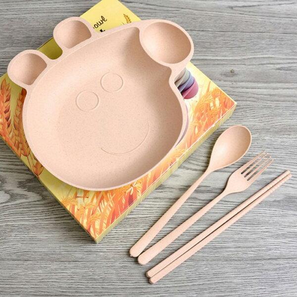 糖衣子輕鬆購【DZ0413】小麥秸稈佩佩豬兒童餐具組4件套卡通造型餐具組堅韌材質動物造型湯匙+叉子+碗+筷子
