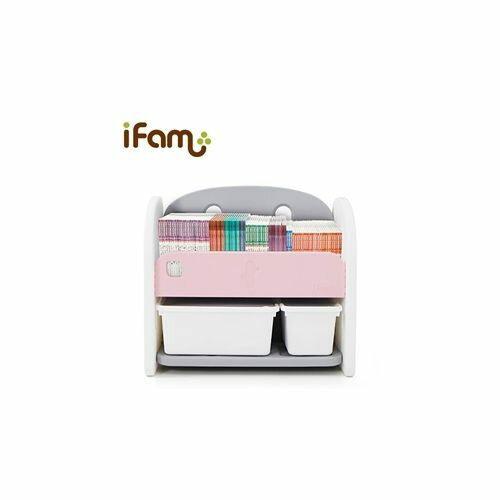 韓國 Ifam 粉紅色書架收納組(白色收納盒x2)