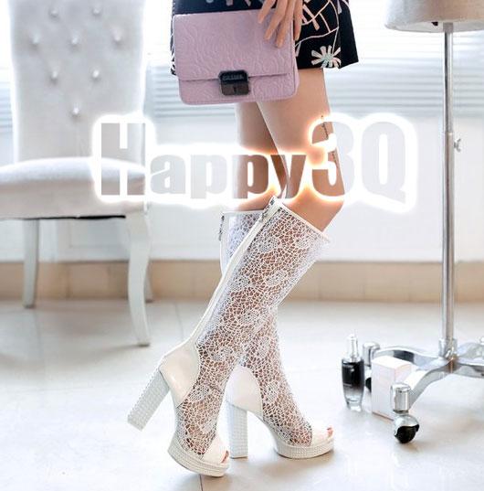 時尚性感蕾絲鏤空魚嘴拉鍊長靴-白/米/黑33-40【AAA0037】