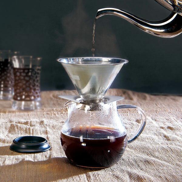 NOBA 不只是禮品:MacMa手沖咖啡壼不鏽鋼濾網1-2份500ml日本製玻璃壼