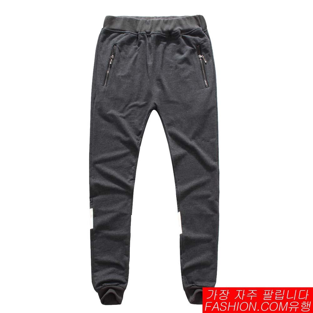 DITION 拉鍊背面反光皮革SPORT螺紋棉褲 1