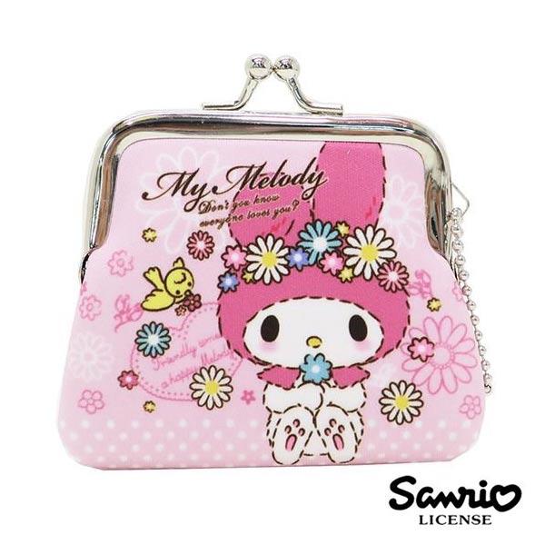 粉紅款【日本進口】美樂蒂 My Melody 小型 防震棉 珠扣包 零錢包 三麗鷗 Sanrio - 439491