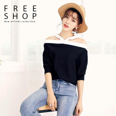Free Shop:FreeShop女款日韓風格性感縷空造型撞色繞頸上衣飛鼠袖針織上衣可前後兩穿【QMDM9013】