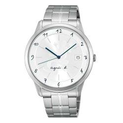 agnes b VJ52-00AMB(BP9007J1)經典蜥蜴圖文時尚腕錶/白面39mm