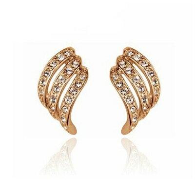 925純銀耳環鑲鑽耳飾~  百搭母親節生日情人節 女飾品2色73gt118~ ~~米蘭 ~