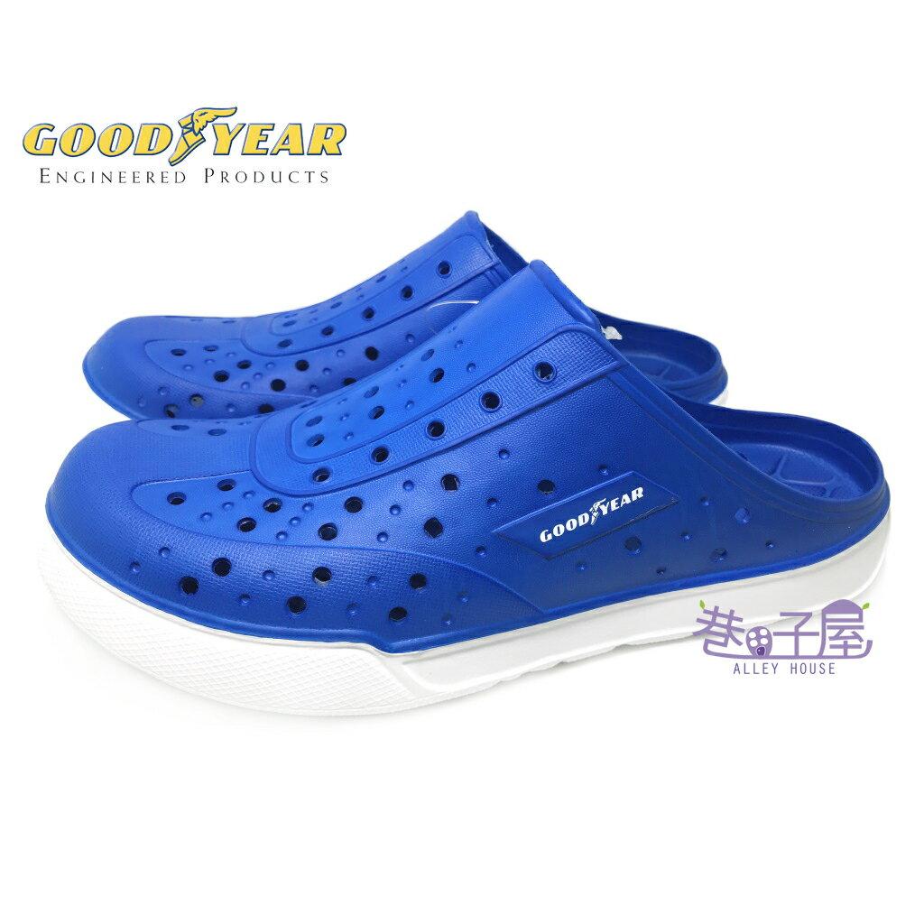 【巷子屋】GOODYEAR固特異 男款雙密度科技Q彈水陸鞋 洞洞鞋 [73806] 藍白 超值價$388