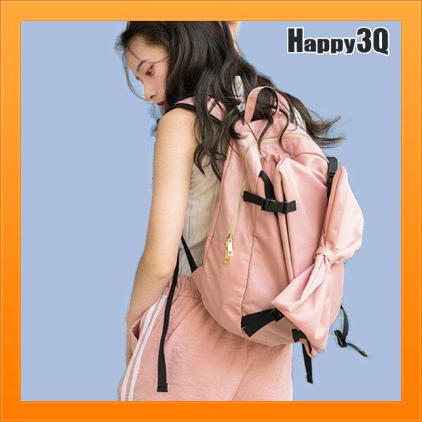蝴蝶結後背包雙肩包粉嫩色街頭休閒包女包特殊設計軟妹包-粉黑【AAA4473】