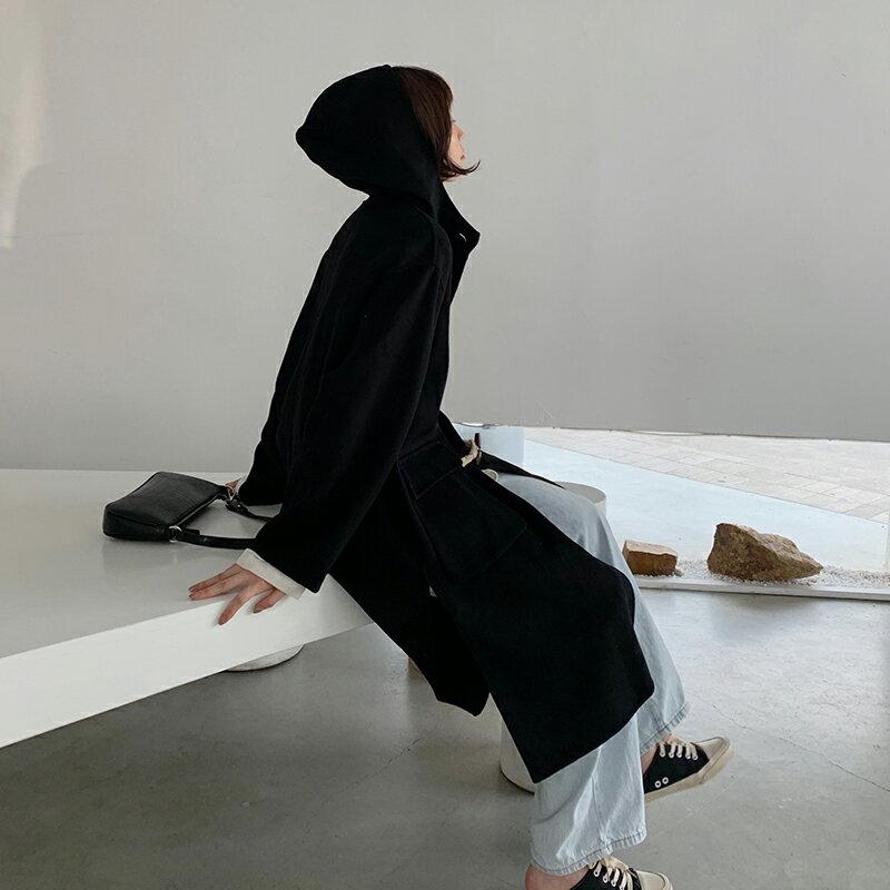 毛呢大衣羊毛外套-長版黑色牛角扣連帽女外套73wb13【獨家進口】【米蘭精品】 1