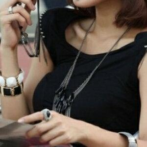 美麗大街~GX0456~  飾品 復古 明星 黑色寶石多層流蘇 長項鍊毛衣鏈