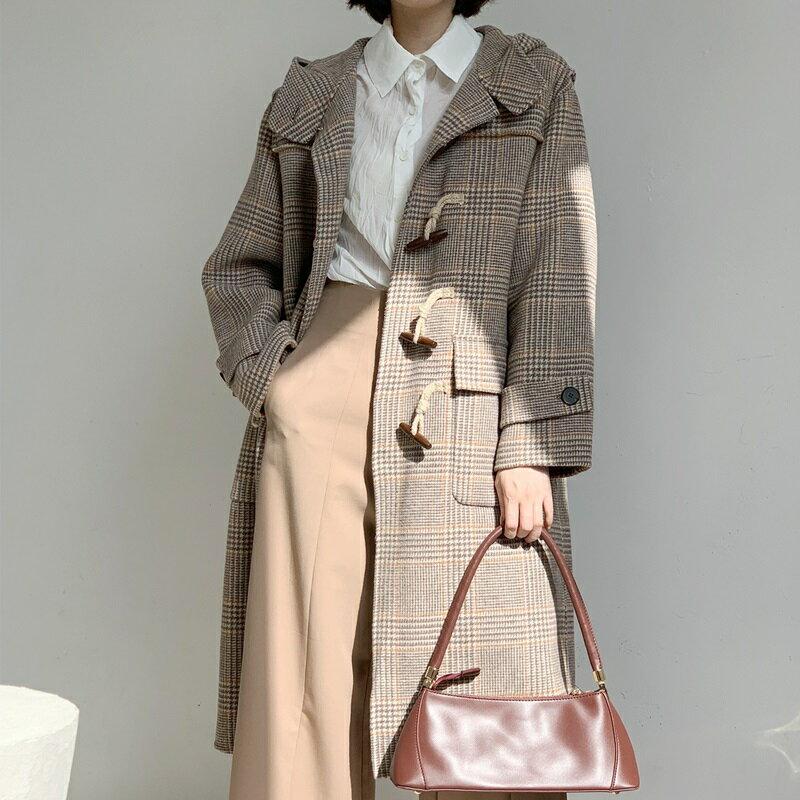 毛呢大衣羊毛外套-牛角扣經典連帽長版女外套2色73wb30【獨家進口】【米蘭精品】 1