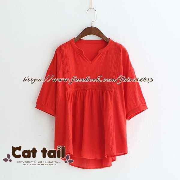 《貓尾巴》LZ-03157簡約文藝娃娃領蕾絲邊短袖上衣(森林系日系棉麻文青清新)