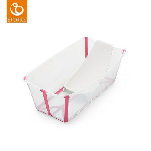 【新色上市】StokkeFlexiBath摺疊浴盆(透明粉)+新生兒架