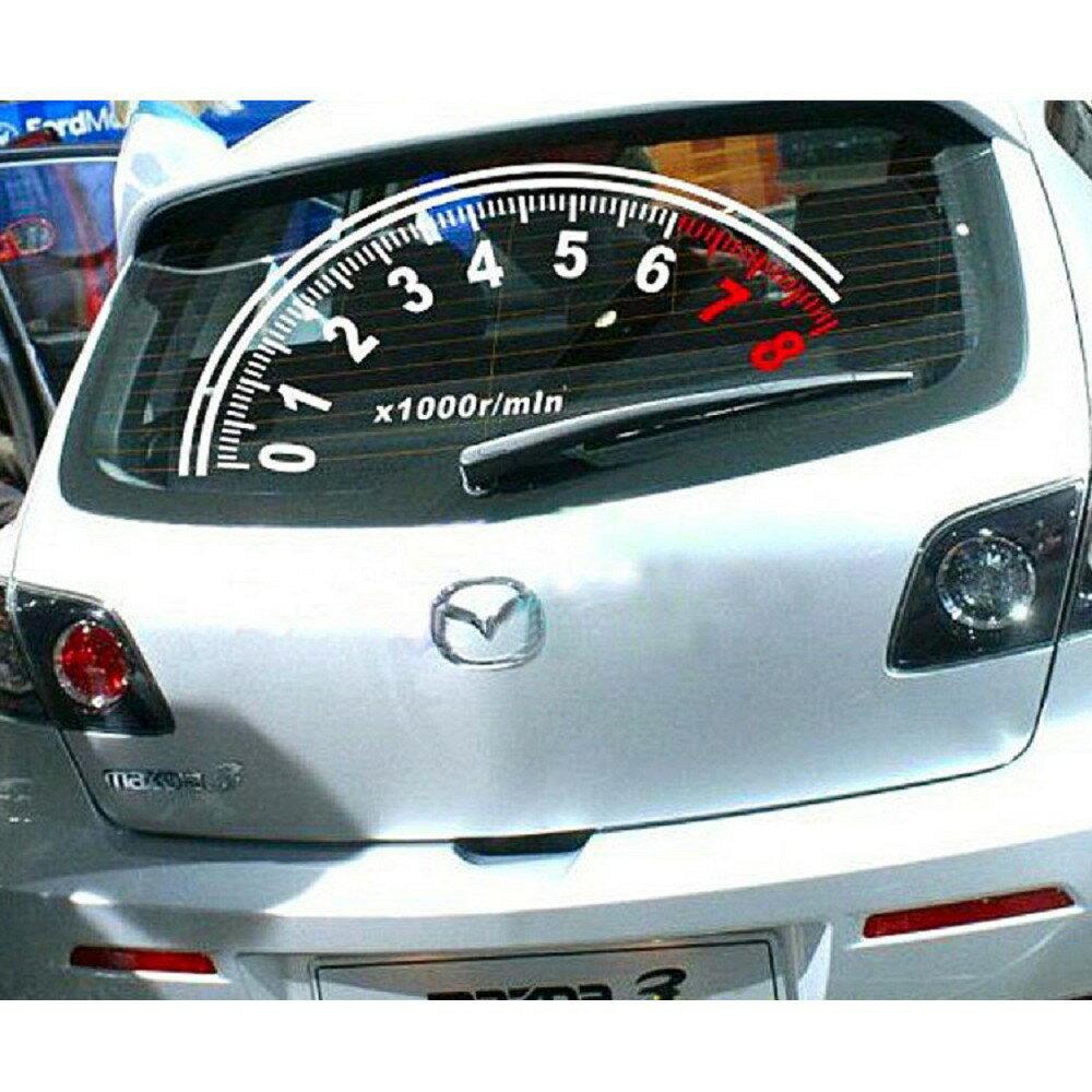 現貨發出現貨汽車里程轉速速度表後擋風玻璃反光創意改裝車貼  超商取貨 三日出貨