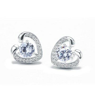 ~925純銀耳環鑲鑽耳飾~ 甜美大方心型生日情人節 女飾品73dz34~ ~~米蘭 ~