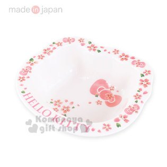 〔小禮堂〕HelloKitty日製造型陶瓷湯碗《小.白粉.櫻花.大臉型》櫻花系瓷器