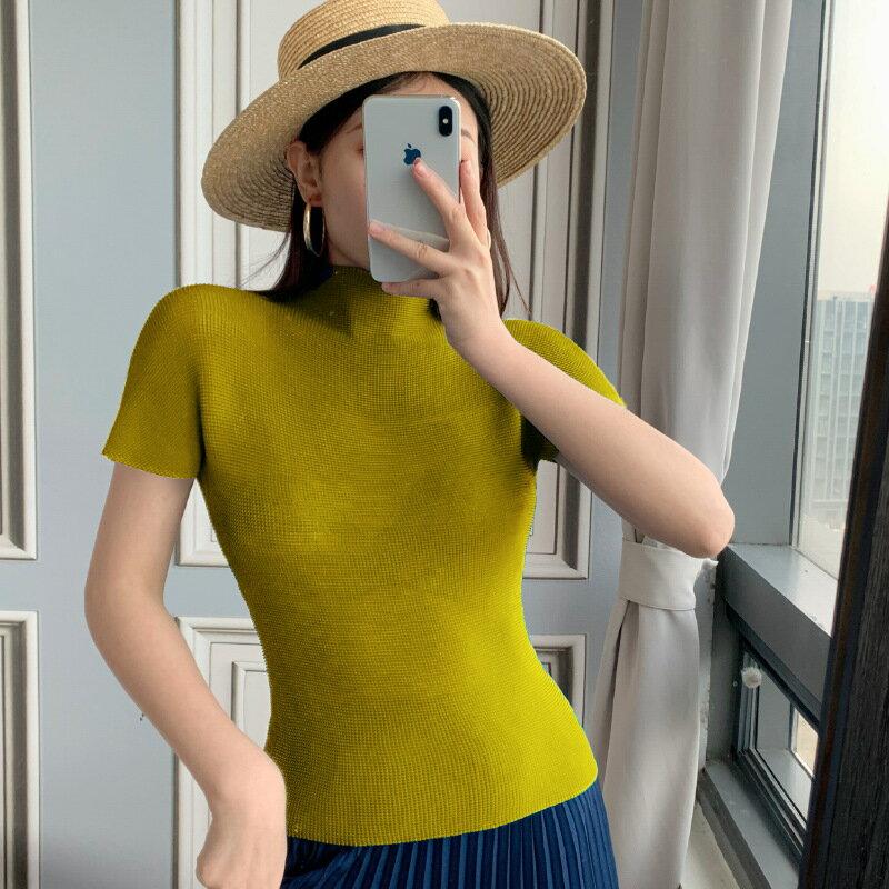 短袖T恤褶皺上衣-高領輕薄氣質高彈力女裝14色73zs4【獨家進口】【米蘭精品】