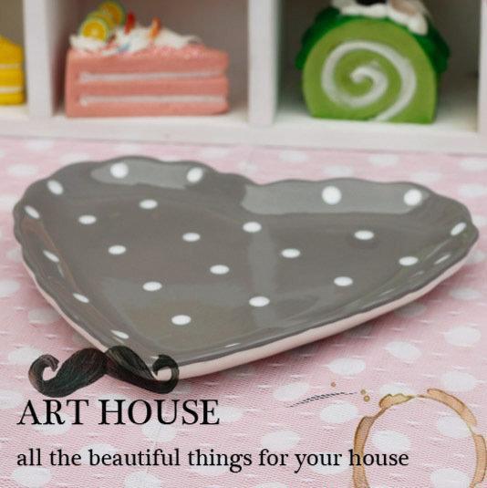 灰色波點心形碟子 蛋糕碟 零食碟 點心碟 小水果碟 乾果碟 涼菜碟2個組