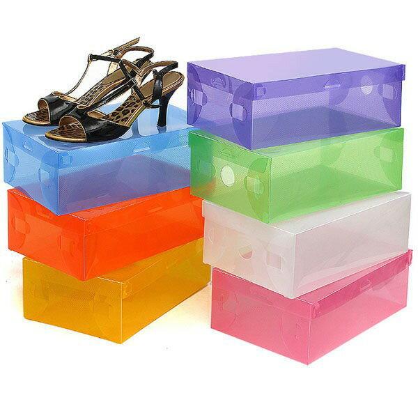 琪樂小舖【W154】現貨+預購 繽紛彩色可透視高跟鞋DIY透明鞋盒 / 收納盒