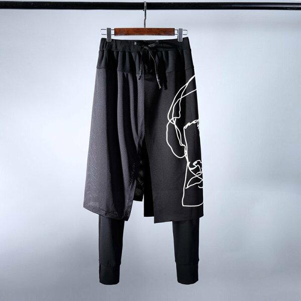 FINDSENSEH12018春裝夜店夜場時尚假兩件裙褲