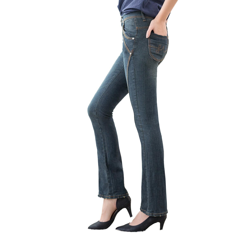 顯瘦--細到無法無天的美腿前斜車線深藍刷黃中腰小喇叭牛仔褲(牛仔藍S-7L)-N34眼圈熊中大尺碼 1